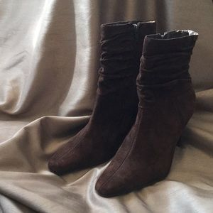 Genuine suede brown heeled boots size 7 1/2